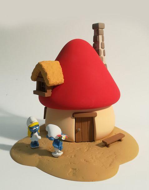 Fariboles Statua Puffi - Maison de la Schtroumpfette