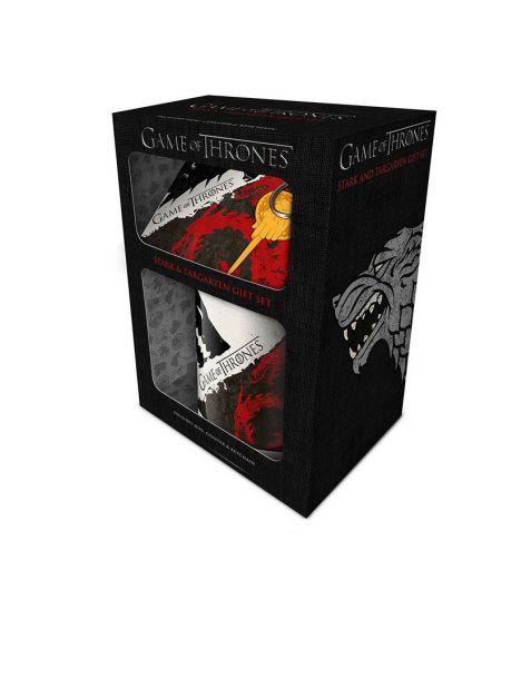 Gift Set Game of Thrones Stark e Targaryen (Tazza, portachiavi e sottobicchiere)