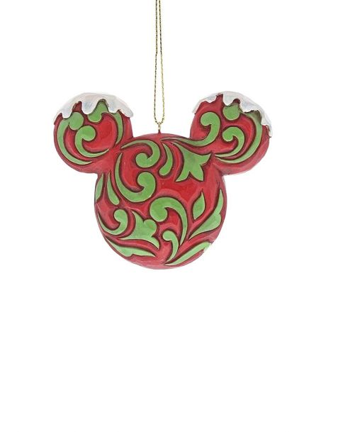 Jim Shore Natale - Decorazione per albero Mickey Mouse Head Red