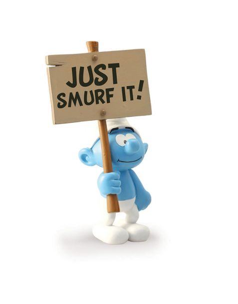 "Plastoy Puffo Costruttore con cartello ""Just Smurf It!"""